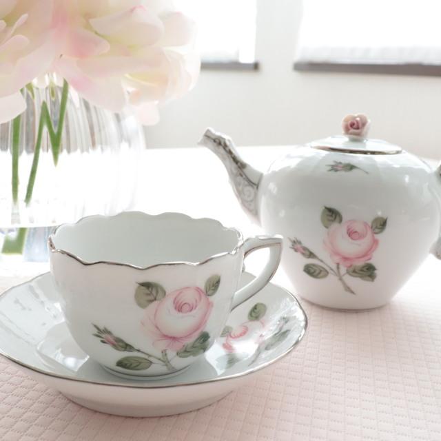 ヘレンド ウィーンの薔薇(淡いローズ・大輪) プラチナ  ミニカップ&ソーサー 約100ml (*カップ&ソーサーのみ。他の商品は別売です。)
