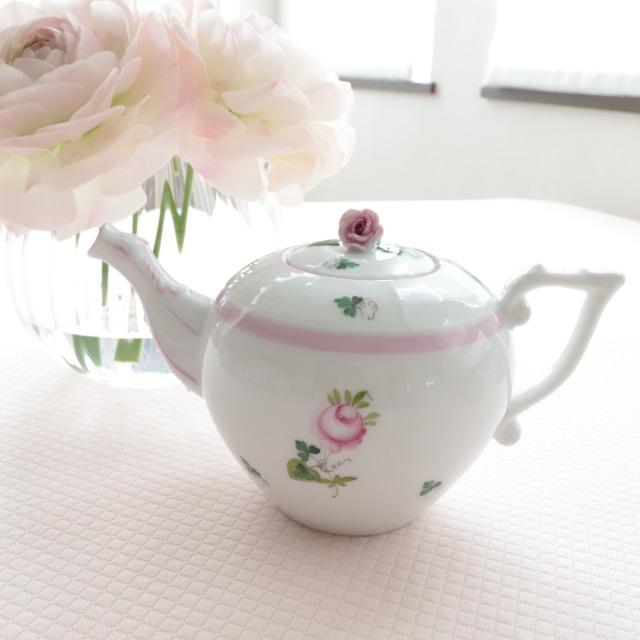 ☆即納品☆ ヘレンド VRH-X4 00608-0-09 ウィーンの薔薇ピンク ティーポット 薔薇トップ 380ml
