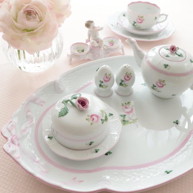 ☆再入荷☆ ヘレンド VRH-X4 00400-0-00 ウィーンの薔薇ピンク リボン トレイ(トレイのみ・他の商品は別売です。)