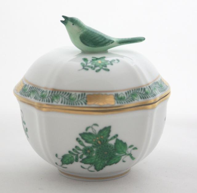 ヘレンドスペシャル AV 04246-0-05 アポニーグリーン 小物入れ 小鳥