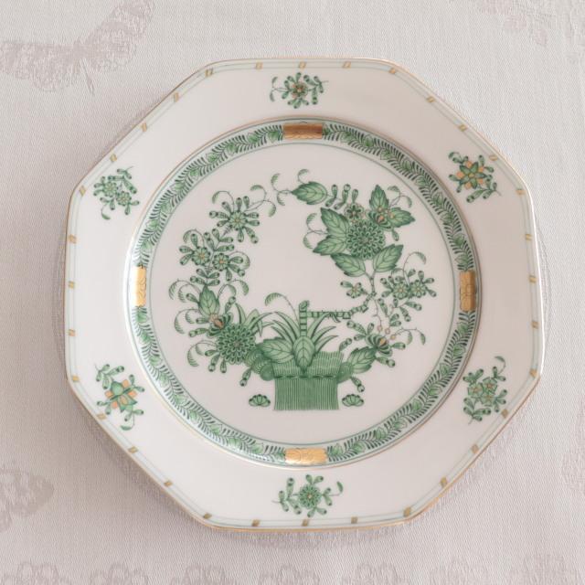 Herend ヘレンド  FV インドの華 八角デザート皿 約18.5cm
