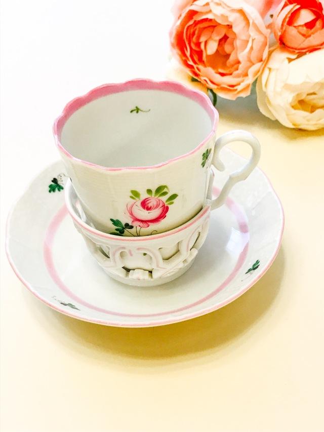 ☆レア☆ヘレンド VRH-X4 00713 ウィーンの薔薇ピンク チョコレートカップ&ソーサー
