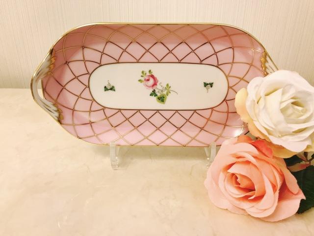 ☆期間限定価格☆Herend Memorial Rose サービストレイ(サンドウィッチプレート) 約23cm