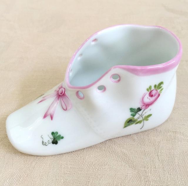 ☆贈り物にオススメ☆ ヘレンド VRH-X4 07570-0-00 ウィーンの薔薇ピンク ベビーシューズ