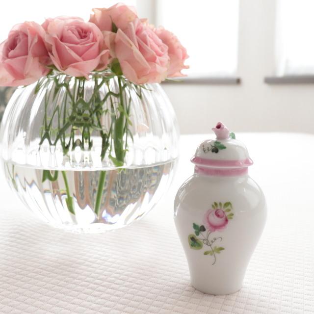 Herend ヘレンド ウィーンの薔薇ピンク 蓋付ミニチュアベース
