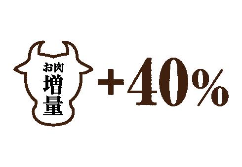お肉の増量40%