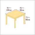 高さ71-80cm/奥行き81-90cm/横幅91-100cmの机/デスク
