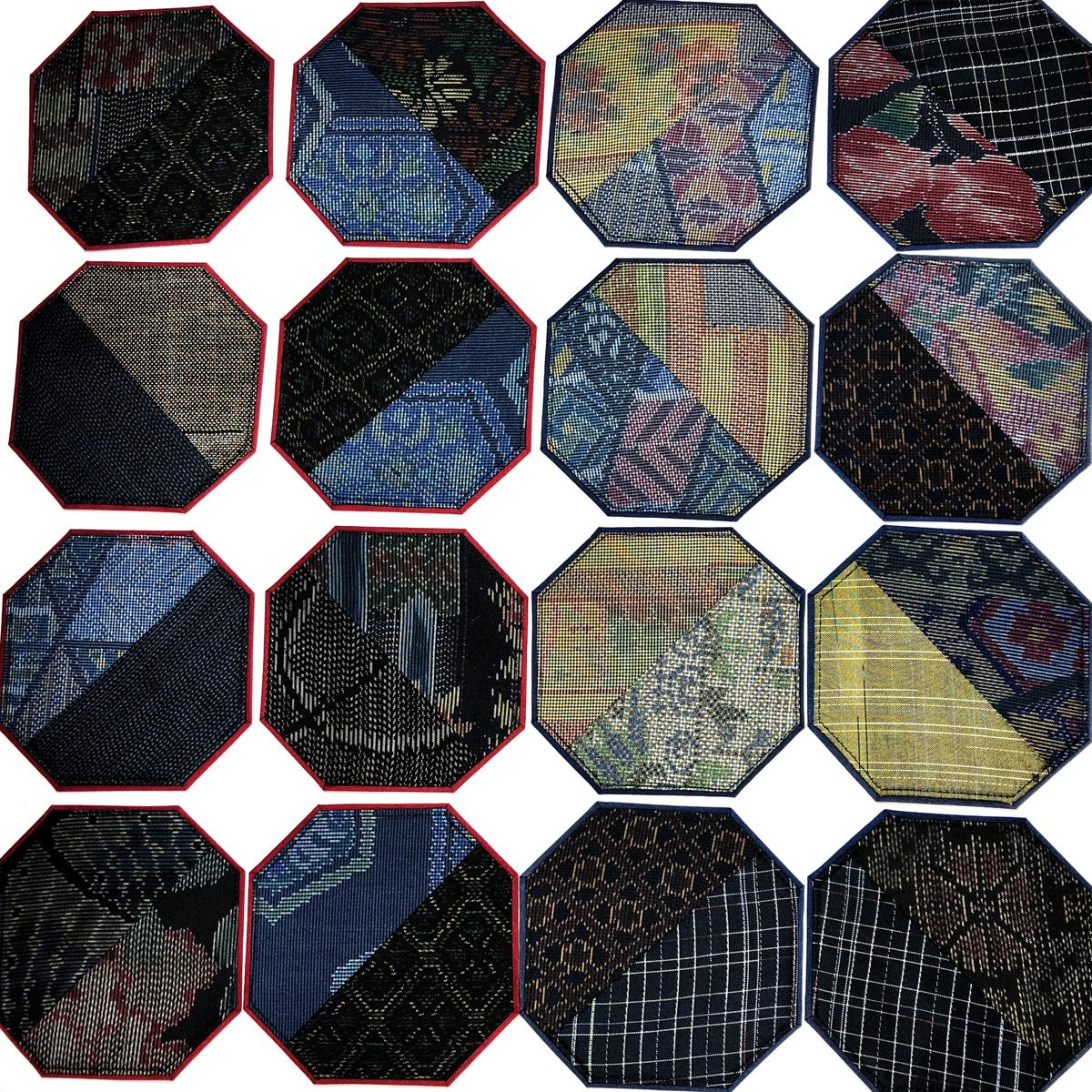 大島紬の八角形型コースター