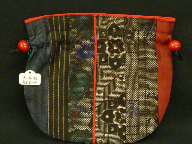【大島紬】 丸型・パッチワークポーチ(巾着袋)