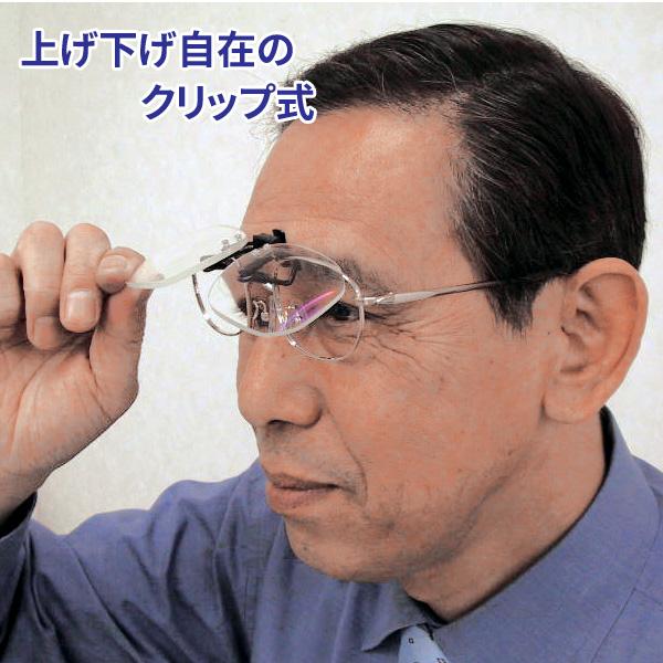 メガネに装着 クリップオンルーペ 拡大鏡 日本製