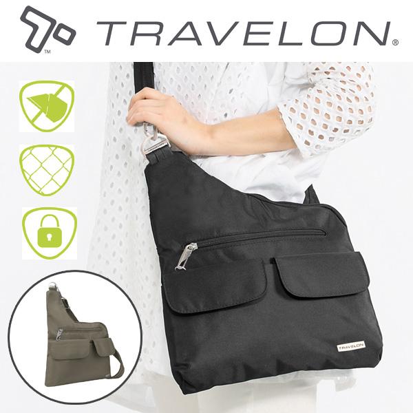 トラベロン社セキュリティショルダーバッグ42373/海外旅行対応盗難防止トラベルショルダーバッグ