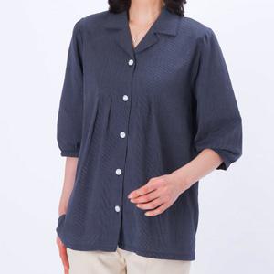 日本製 亀田縞(かめだじま)オーバーブラウス 紺系 7分袖
