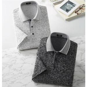 Pierucci(ピエルッチ)リーフ柄半袖ポロシャツ2色組 ブラック・ホワイト