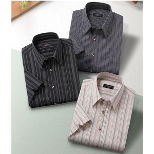 Pierucci(ピエルッチ)綿100%しじら織り7分袖シャツ3色組 ベージュ・ブルー・ブラック