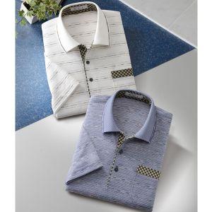 エムアイジェイ/日本製かすり糸使用ジャカード半袖ポロシャツ2色組 ブルー・オフホワイト