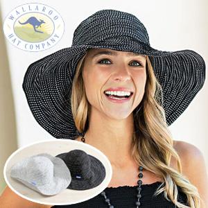 ワラルー社 折りたためるUVカットつば広レディースハット つば広帽子 キャペリンハット 女優帽