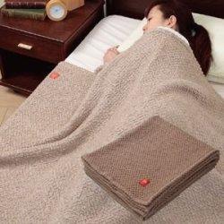 日本製キャメル混のびふわ毛布 シングルサイズ140×200cm