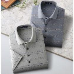 日本製「楽着」紳士ニットポロシャツ 半袖シャツ2色組/ブルー、グレー