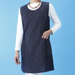 日本製 久留米織チュニックベスト 和モダン 紺色(M~Lサイズ)