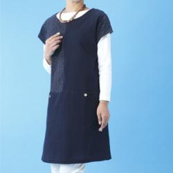 日本製 久留米織チュニックブラウス 和モダン 紺色