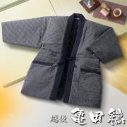 日本製 越後亀田縞織 紳士はんてん 中わた入り M~Lサイズ 35263 紳士袢天 半天