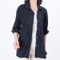 日本製 亀田縞(かめだじま)ちぢみ織りシャツジャケット サラサラ優しく涼やか 紺系