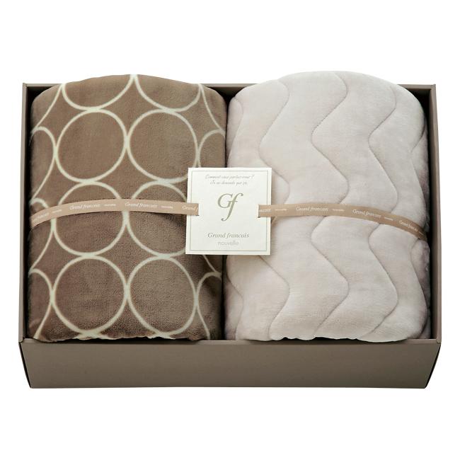 【送料無料】グランフランセヌーベル ハイソフトタッチ マイヤー毛布&吸湿発熱綿入り敷パット No.150 (グレージュ)