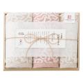 今治謹製 紋織タオル フェイス2P・ウォッシュタオル1P No.25 (ピンク)
