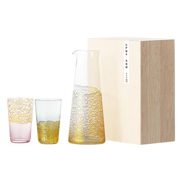 江戸硝子 金玻璃 酒器セット No.200