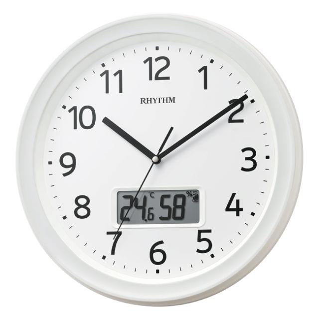 RHYTHM フィットウェーブリブ電波掛時計 No.70 (白)