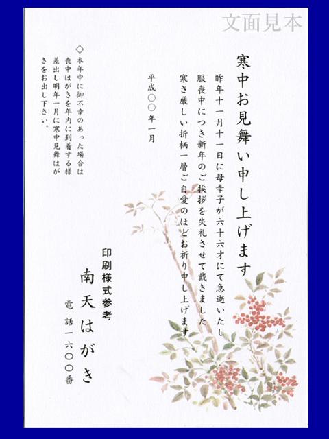 寒中見舞い/ケント紙(厚口)「南天」/100枚(ハ11810)
