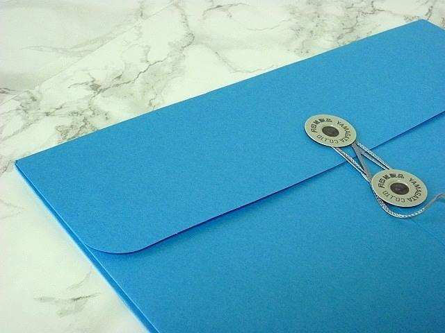 角2封筒 マチ付 保存袋 ブルー 120g 玉付(マルタック)/100枚(H21B10)