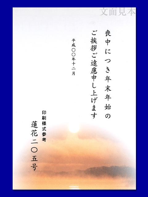 喪中はがき カラー絵柄 インクジェット・レーザー対応 205 /100枚(ハ11205)