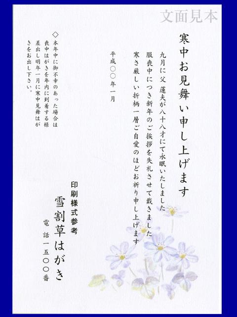 寒中見舞い/ケント紙(厚口)「雪割草」/100枚(ハ11830)