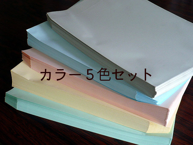 角2封筒 ソフトカラー100g L貼 5色セット(100枚×5品種)(K2NETS)