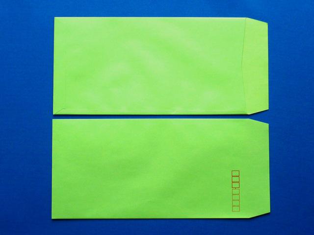 長3封筒 グリーン 85g L貼 100枚(309111)☆小ロット