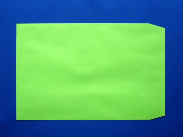 角3封筒 グリーン 85g L貼 /500枚(K38111)