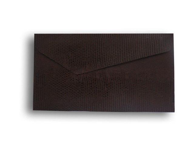 【ZAN月】 プチ封筒 パイソンレザー ブラウン