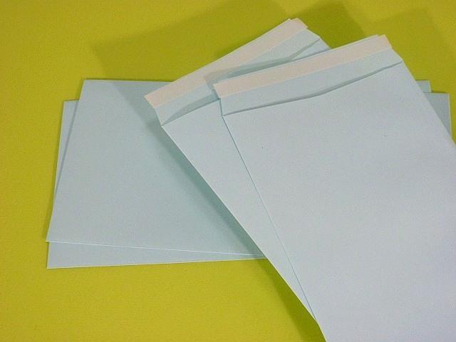 長3封筒 ソフトブルー 80g テープ付 A窓付/枠なし 500枚(3A830T)