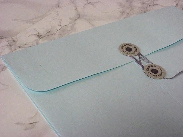 角2封筒 マチ付 保存袋 ソフトブルー 120g 玉付(マルタック)/100枚(H21B30)