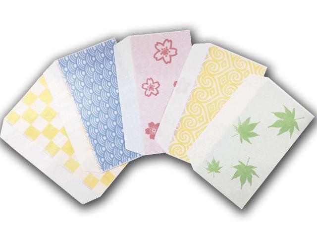透かし窓封筒5枚セット(市松・波・桜・ハート・紅葉)