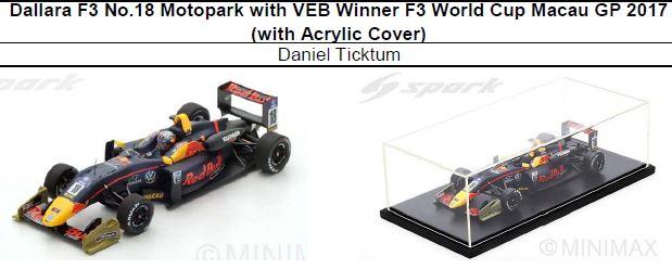 ◎予約品◎1/18 Dallara F3 No.18 Motopark with VEB Winner F3 World Cup Macau GP 2017 (with Acrylic Cover)   Daniel Ticktum