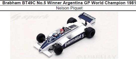 ◎予約品◎1/18 Brabham BT49C No.5 Winner Argentina GP World Champion 1981 Nelson Piquet