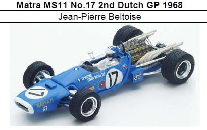 ◎予約品◎ 1/18Matra MS11 No.17 2nd Dutch GP 1968 Jean-Pierre Beltoise