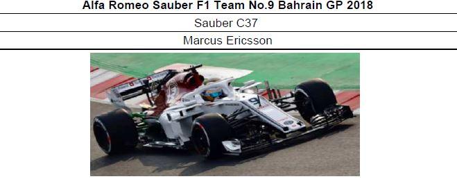 ◎予約品1/18 Alfa Romeo Sauber F1 Team No.9 Bahrain GP 2018  Sauber C37  マーカス・エリクソン