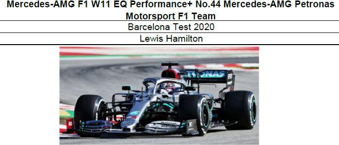 ◎予約品◎1/18  Mercedes-AMG F1 W11 EQ Performance+ No.44  Barcelona Test 2020 L.ハミルトン