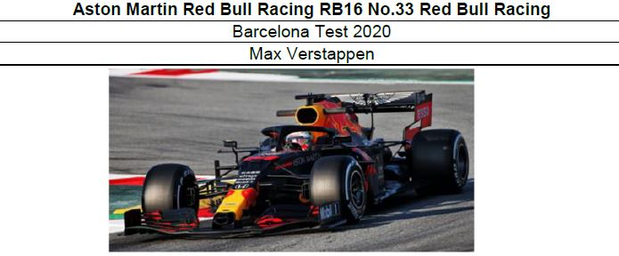 ◎予約品◎1/18  Aston Martin Red Bull Racing RB16 No.33  Barcelona Test 2020 M.フェルスタッフェン