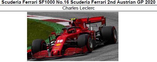 ◎予約品◎1/18 Scuderia Ferrari SF1000 No.16 Scuderia Ferrari 2nd Austrian GP 2020 C.ルクレール