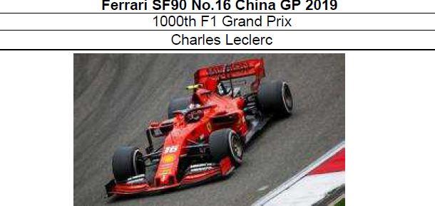 ◎予約品◎1/18 フェラーリ SF90 No.16 China GP 2019 1000th F1 Grand Prix C.ルクレール【MISSION WINNOWデカールの貼り付け・付属無し】