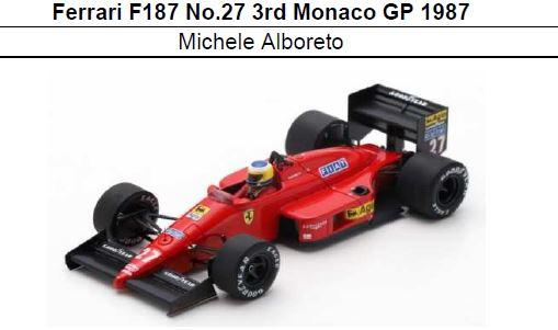 ◎予約品◎ Ferrari F1/87 No.27 3rd Monaco GP 1987 Michele Alboreto
